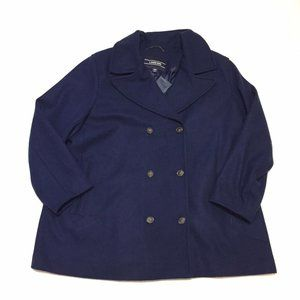Lands End Navy Blue Wool Blend Pea Coat